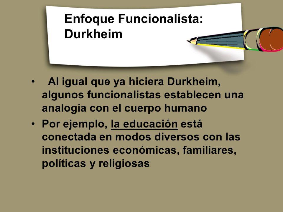 Enfoque Funcionalista: Durkheim