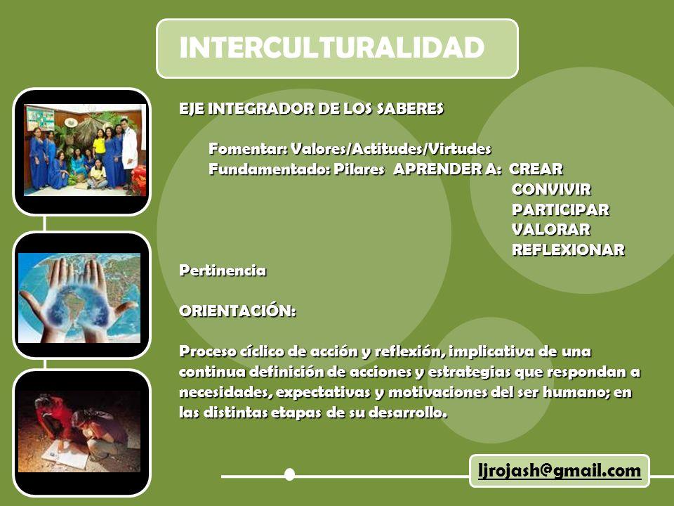 INTERCULTURALIDAD ljrojash@gmail.com EJE INTEGRADOR DE LOS SABERES