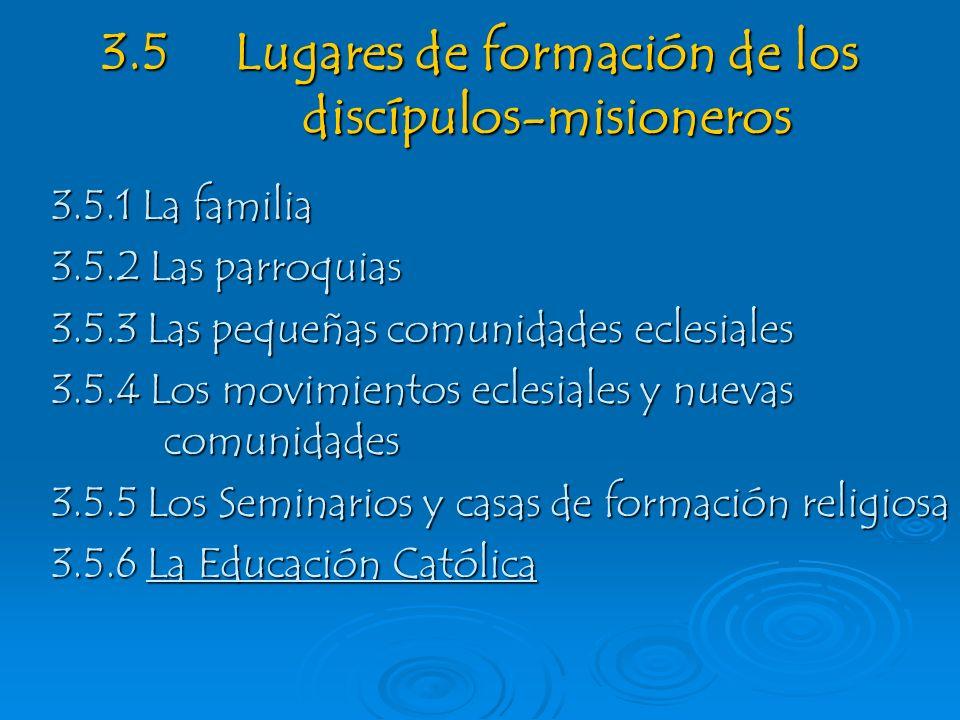 3.5 Lugares de formación de los discípulos-misioneros