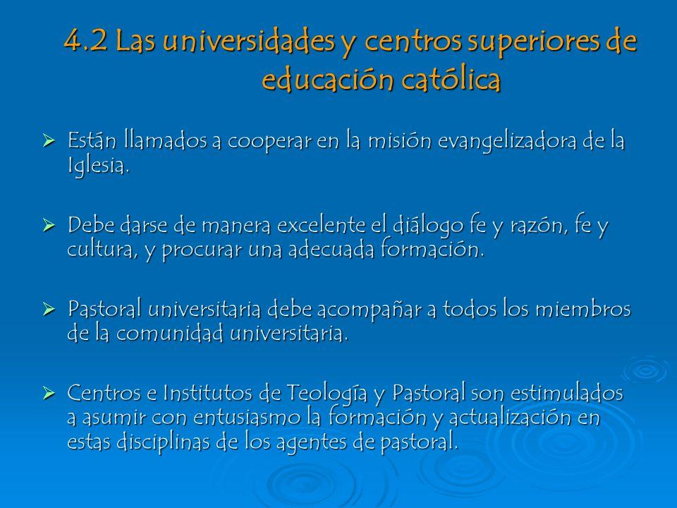 4.2 Las universidades y centros superiores de educación católica