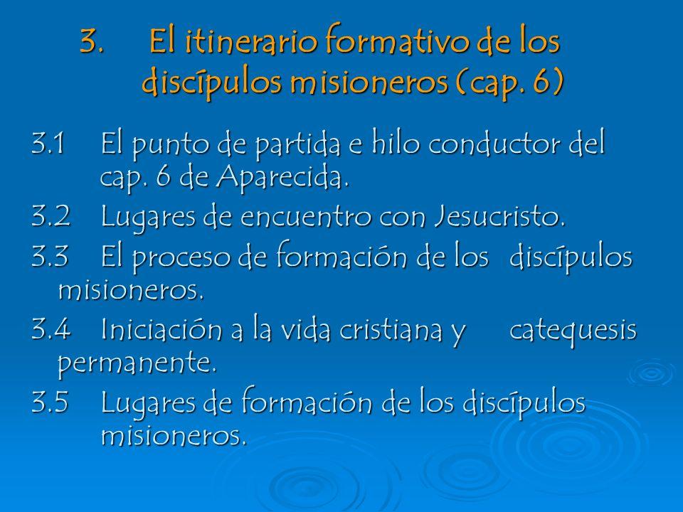 3. El itinerario formativo de los discípulos misioneros (cap. 6)