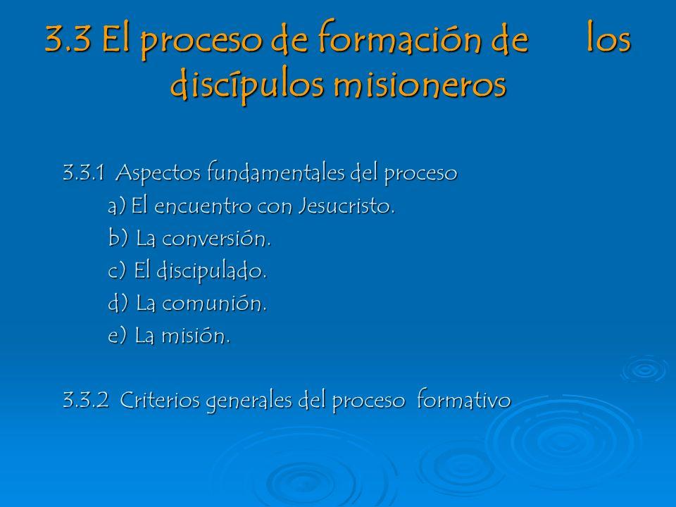 3.3 El proceso de formación de los discípulos misioneros