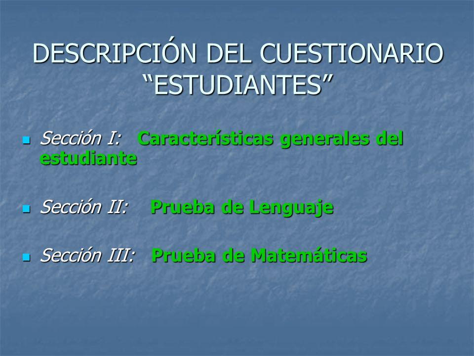 DESCRIPCIÓN DEL CUESTIONARIO ESTUDIANTES