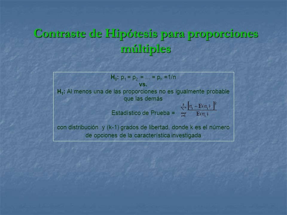 Contraste de Hipótesis para proporciones múltiples