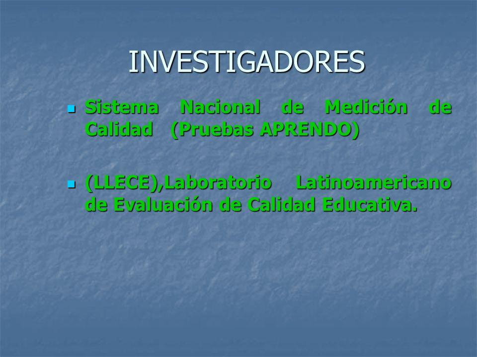 INVESTIGADORES Sistema Nacional de Medición de Calidad (Pruebas APRENDO) (LLECE),Laboratorio Latinoamericano de Evaluación de Calidad Educativa.