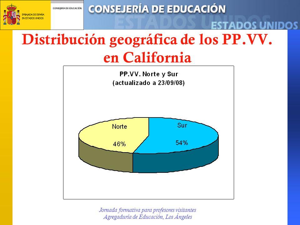Distribución geográfica de los PP.VV. en California