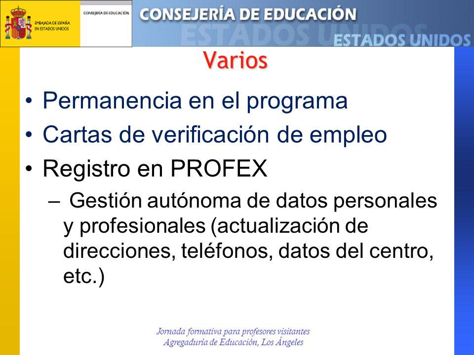 Permanencia en el programa Cartas de verificación de empleo