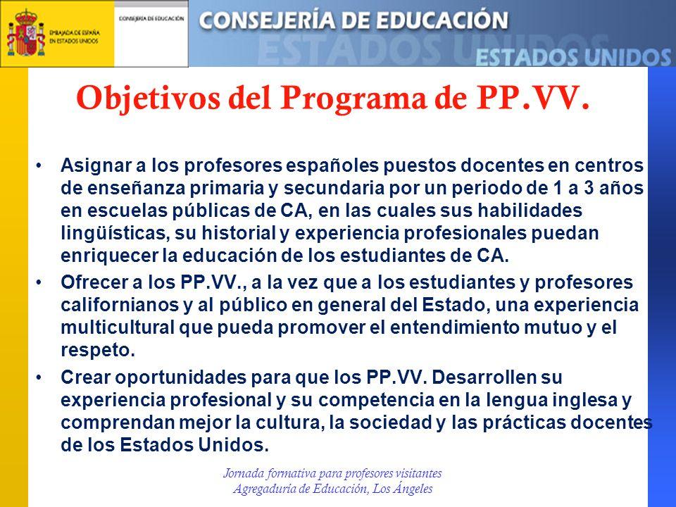 Objetivos del Programa de PP.VV.