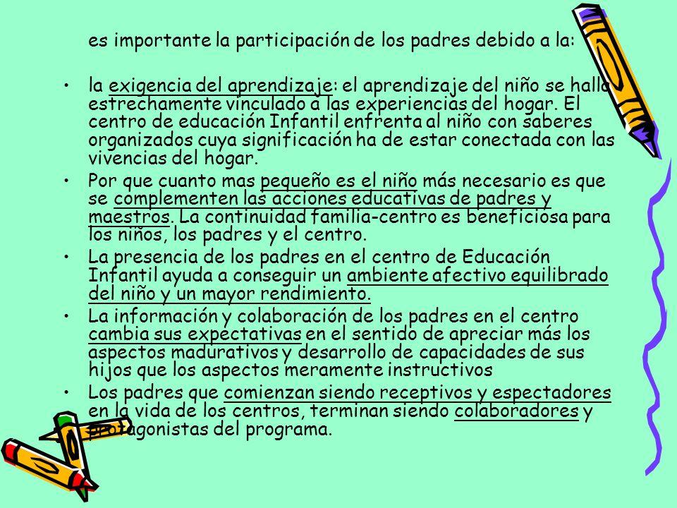 es importante la participación de los padres debido a la: