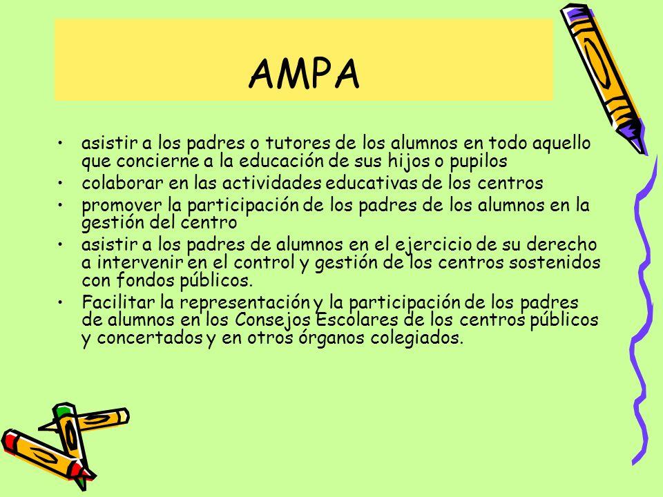 AMPA asistir a los padres o tutores de los alumnos en todo aquello que concierne a la educación de sus hijos o pupilos.