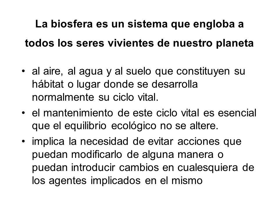 La biosfera es un sistema que engloba a todos los seres vivientes de nuestro planeta