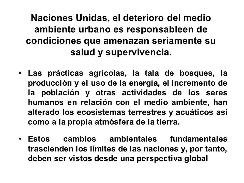 Naciones Unidas, el deterioro del medio ambiente urbano es responsableen de condiciones que amenazan seriamente su salud y supervivencia.