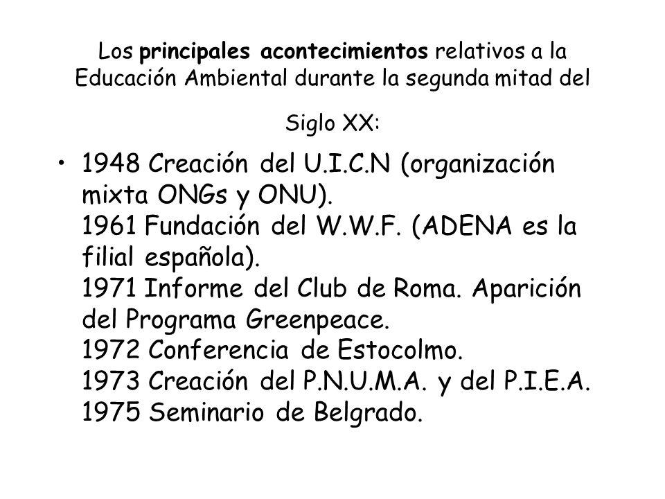 Los principales acontecimientos relativos a la Educación Ambiental durante la segunda mitad del Siglo XX: