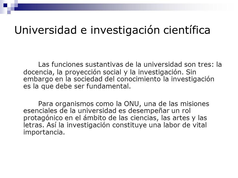 Universidad e investigación científica