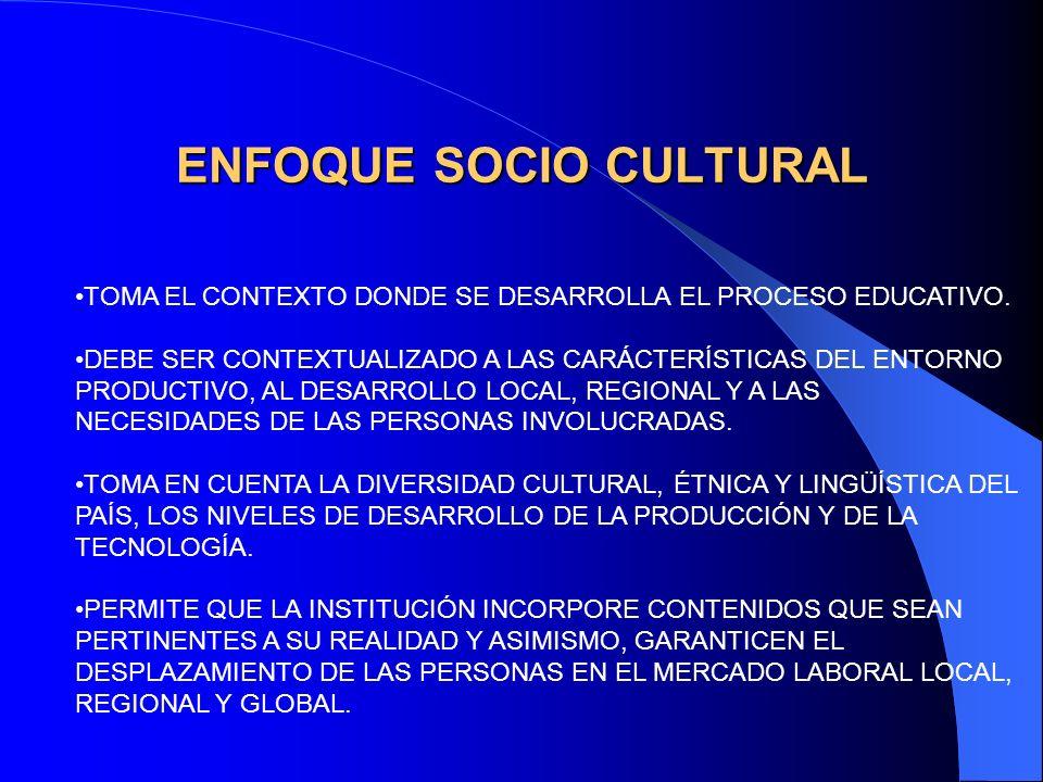 ENFOQUE SOCIO CULTURAL