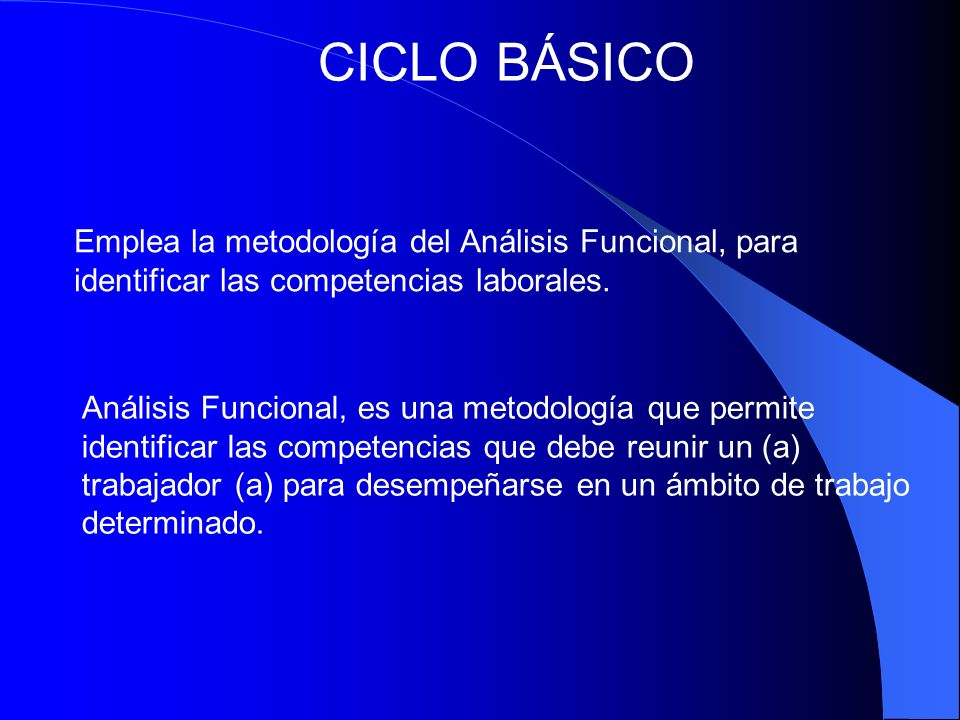CICLO BÁSICO Emplea la metodología del Análisis Funcional, para identificar las competencias laborales.