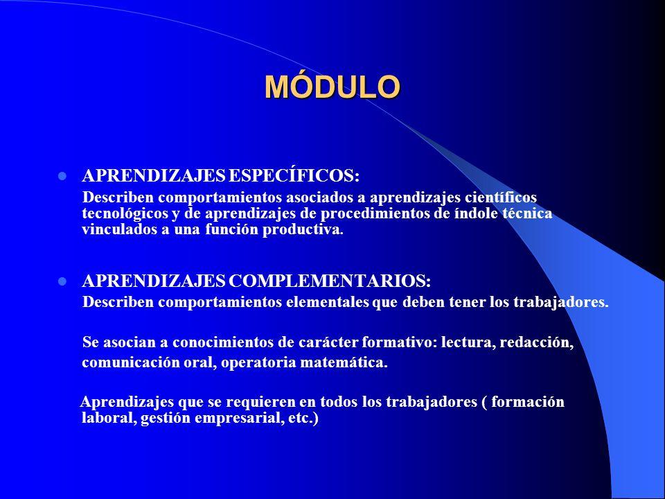 MÓDULO APRENDIZAJES ESPECÍFICOS: APRENDIZAJES COMPLEMENTARIOS: