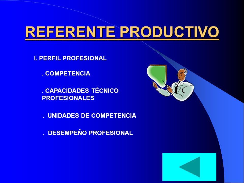 REFERENTE PRODUCTIVO I. PERFIL PROFESIONAL . COMPETENCIA