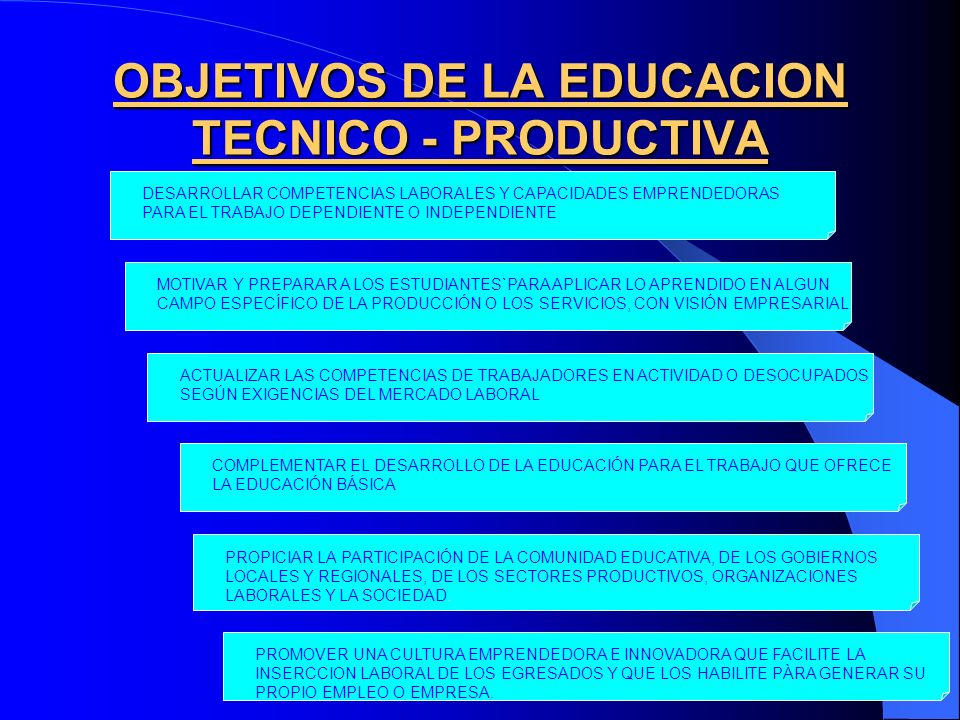 OBJETIVOS DE LA EDUCACION TECNICO - PRODUCTIVA