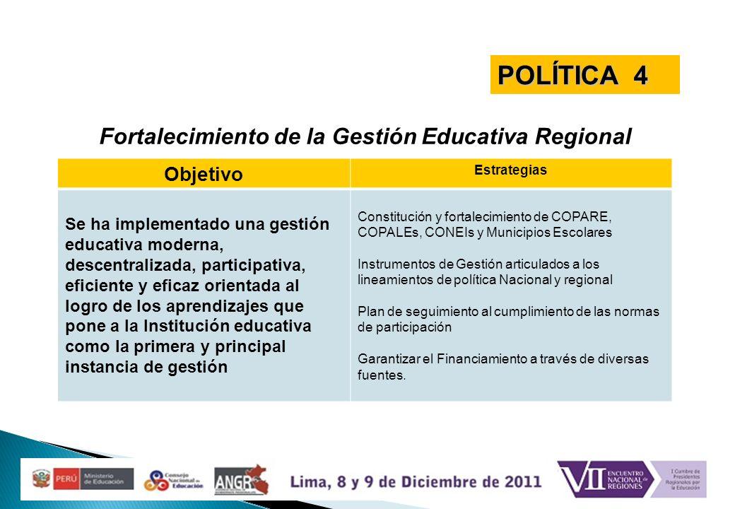 Fortalecimiento de la Gestión Educativa Regional