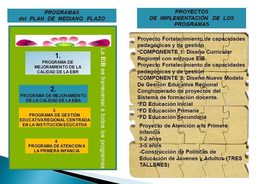 1. 2. La EIB es transversal a todos los programas PROGRAMAS PROYECTOS