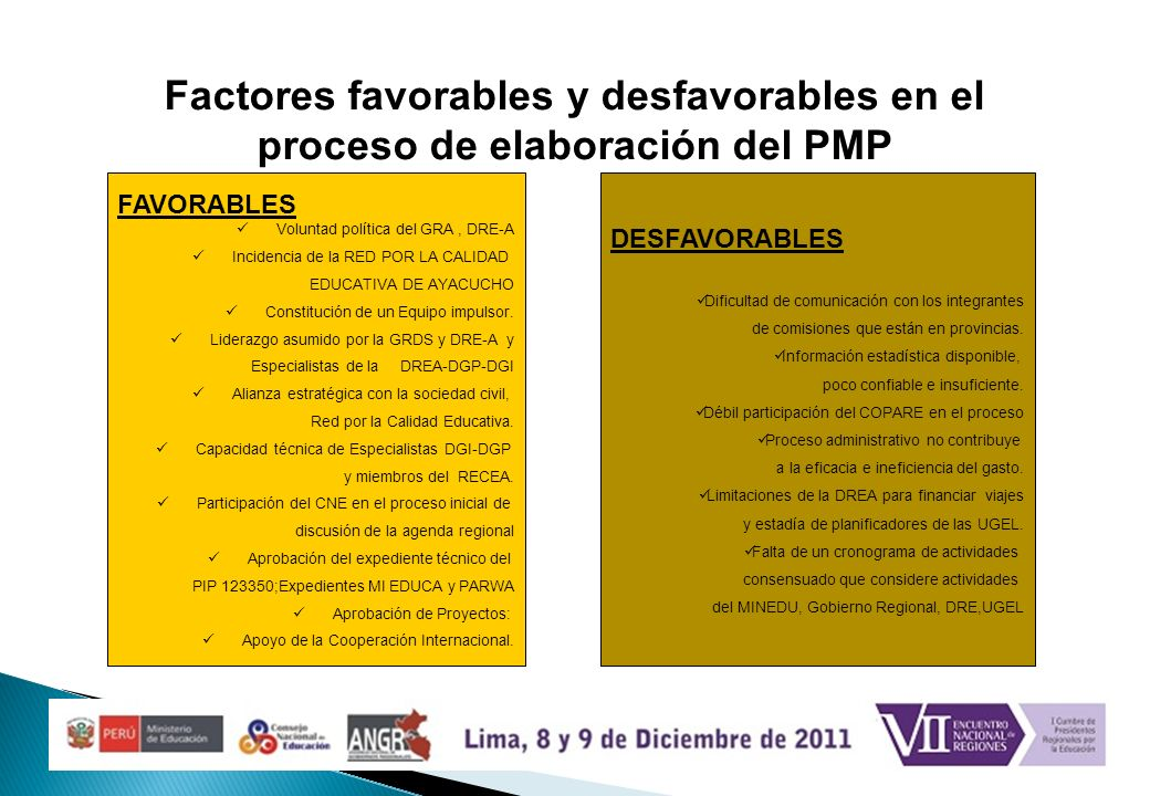 Factores favorables y desfavorables en el proceso de elaboración del PMP