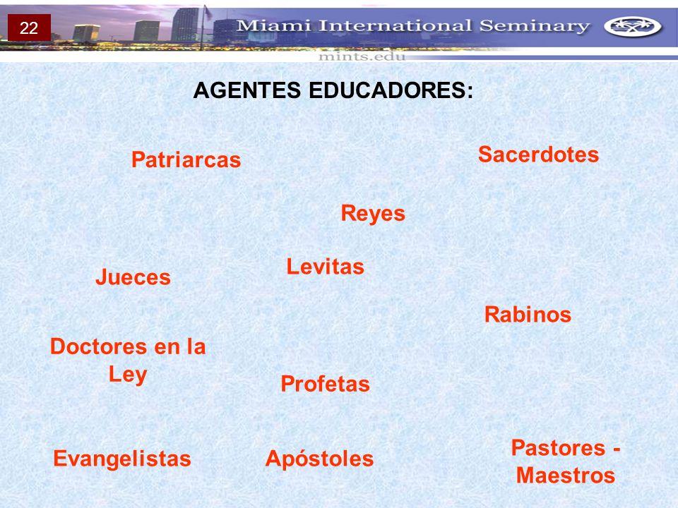 AGENTES EDUCADORES: Sacerdotes Patriarcas Reyes Levitas Jueces Rabinos