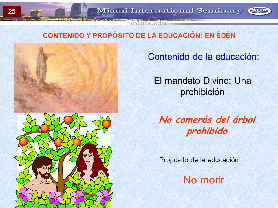 No morir Contenido de la educación: El mandato Divino: Una prohibición