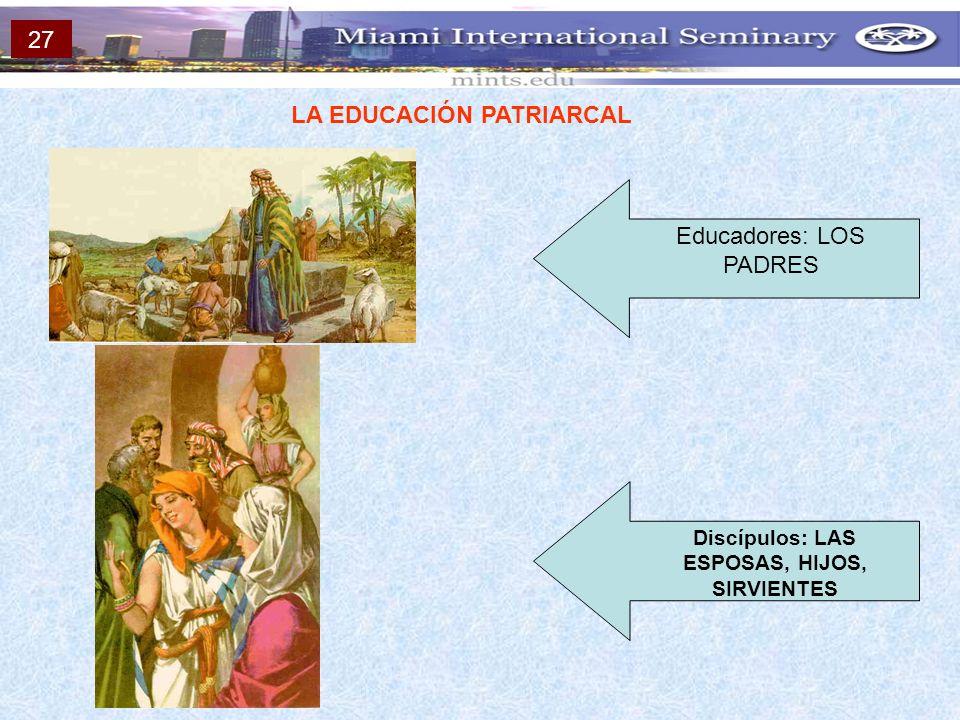 LA EDUCACIÓN PATRIARCAL Discípulos: LAS ESPOSAS, HIJOS, SIRVIENTES