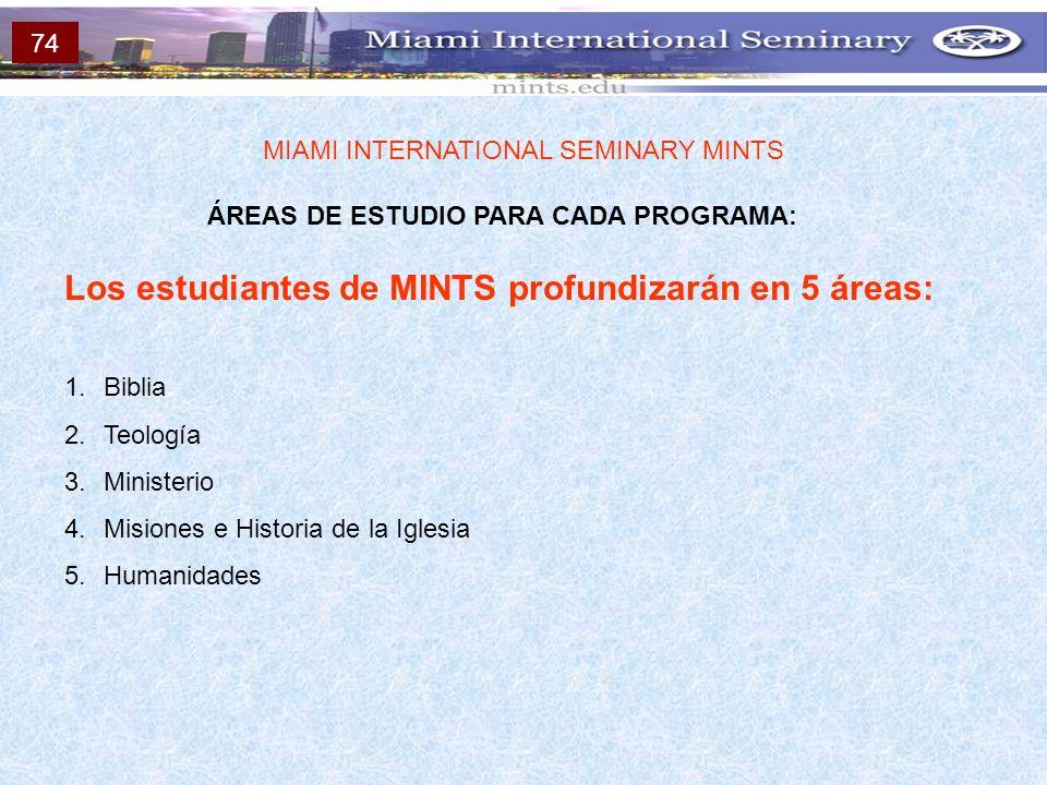 ÁREAS DE ESTUDIO PARA CADA PROGRAMA: