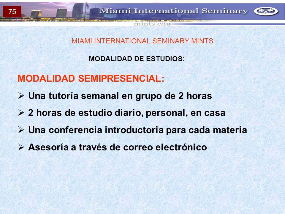 MODALIDAD DE ESTUDIOS: