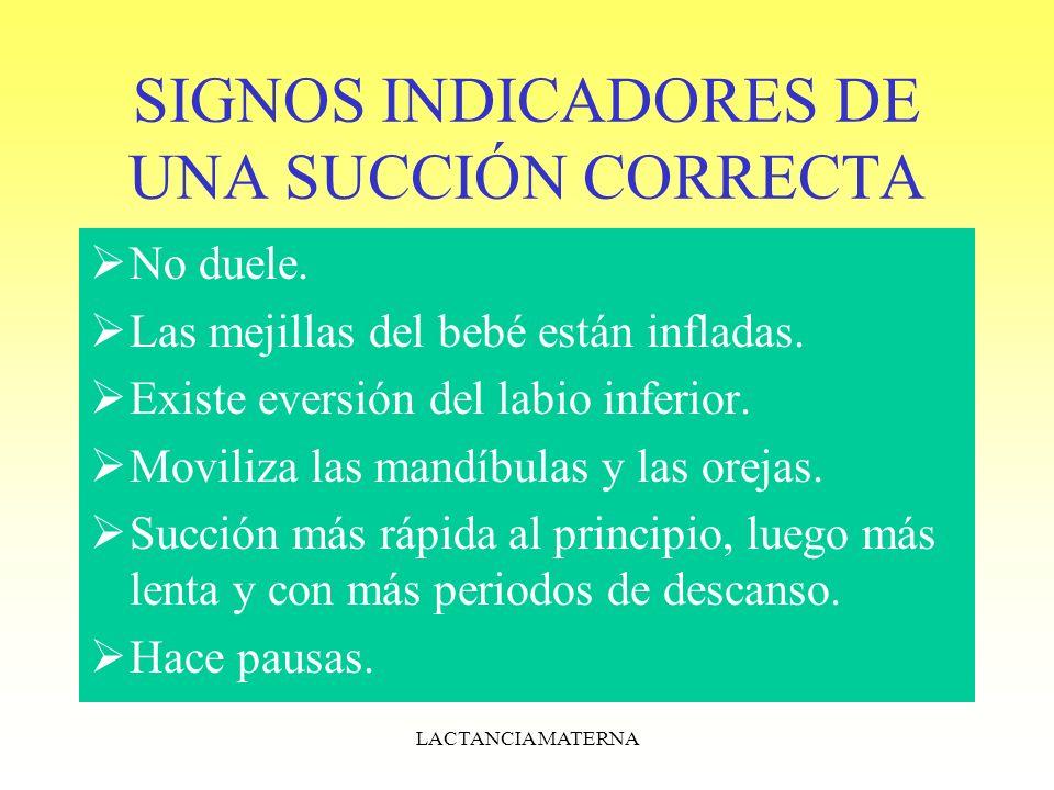 SIGNOS INDICADORES DE UNA SUCCIÓN CORRECTA