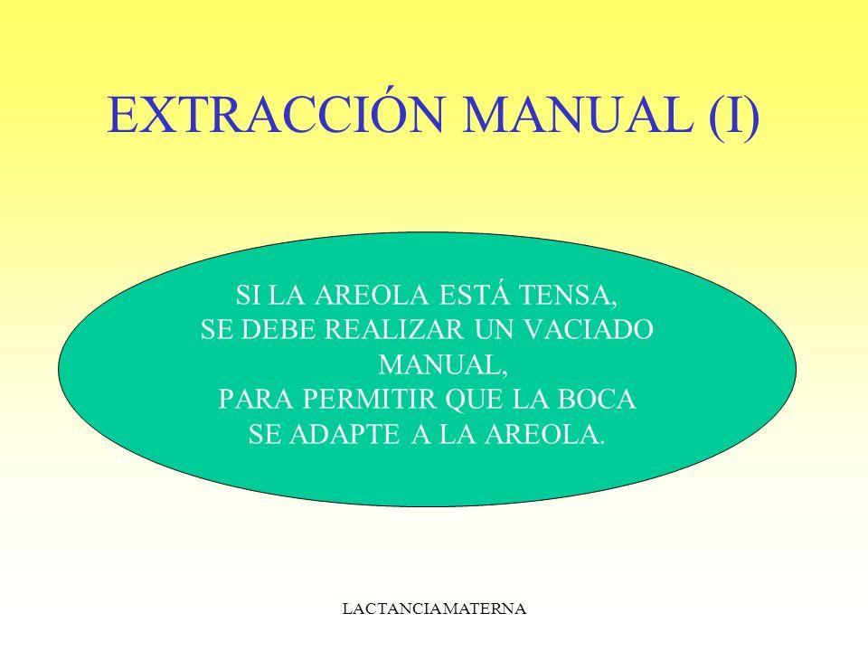 EXTRACCIÓN MANUAL (I) SI LA AREOLA ESTÁ TENSA,
