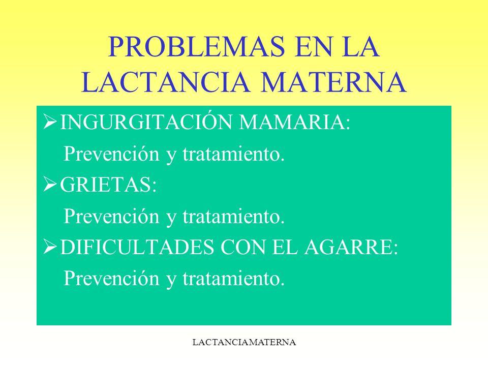PROBLEMAS EN LA LACTANCIA MATERNA