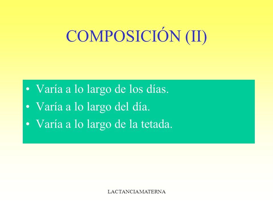 COMPOSICIÓN (II) Varía a lo largo de los días.