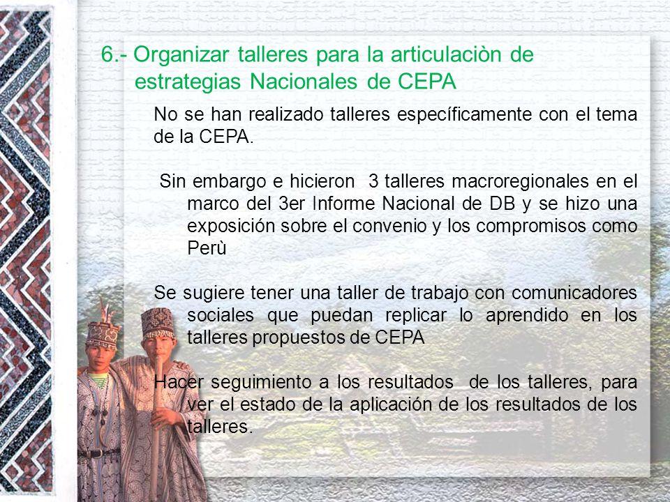 6.- Organizar talleres para la articulaciòn de estrategias Nacionales de CEPA