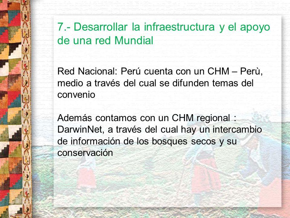 7.- Desarrollar la infraestructura y el apoyo de una red Mundial