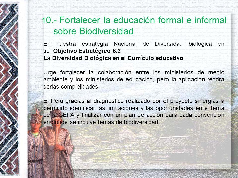 10.- Fortalecer la educación formal e informal sobre Biodiversidad