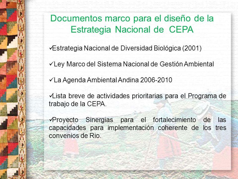 Documentos marco para el diseño de la Estrategia Nacional de CEPA