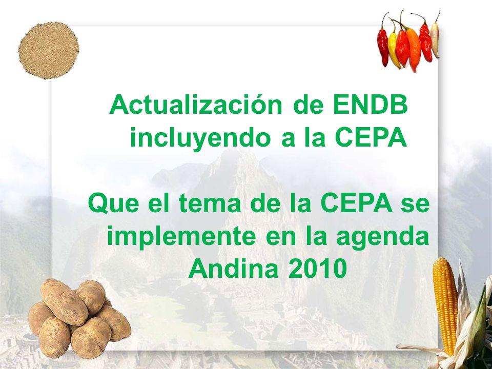 Actualización de ENDB incluyendo a la CEPA