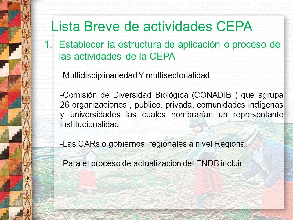 Lista Breve de actividades CEPA