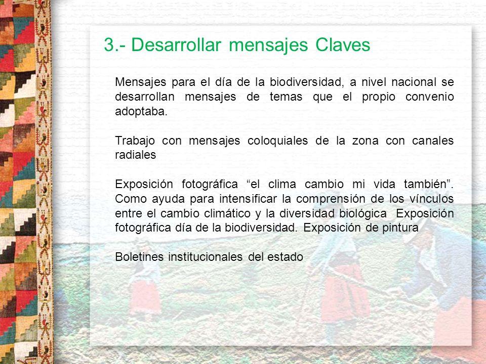 3.- Desarrollar mensajes Claves