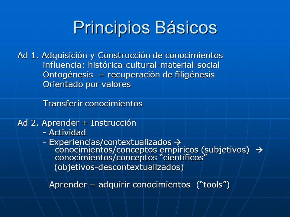 Principios Básicos Ad 1. Adquisición y Construcción de conocimientos