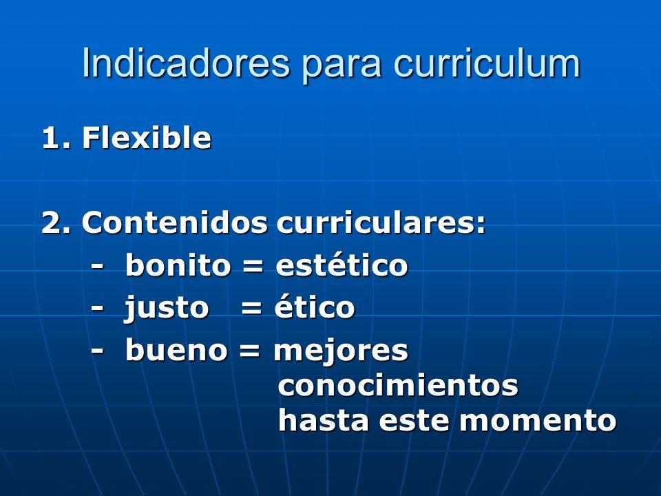 Indicadores para curriculum