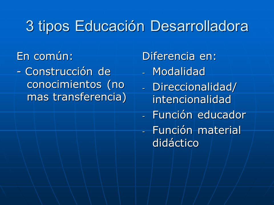 3 tipos Educación Desarrolladora