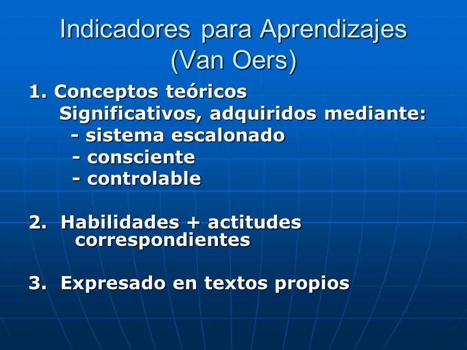 Indicadores para Aprendizajes (Van Oers)