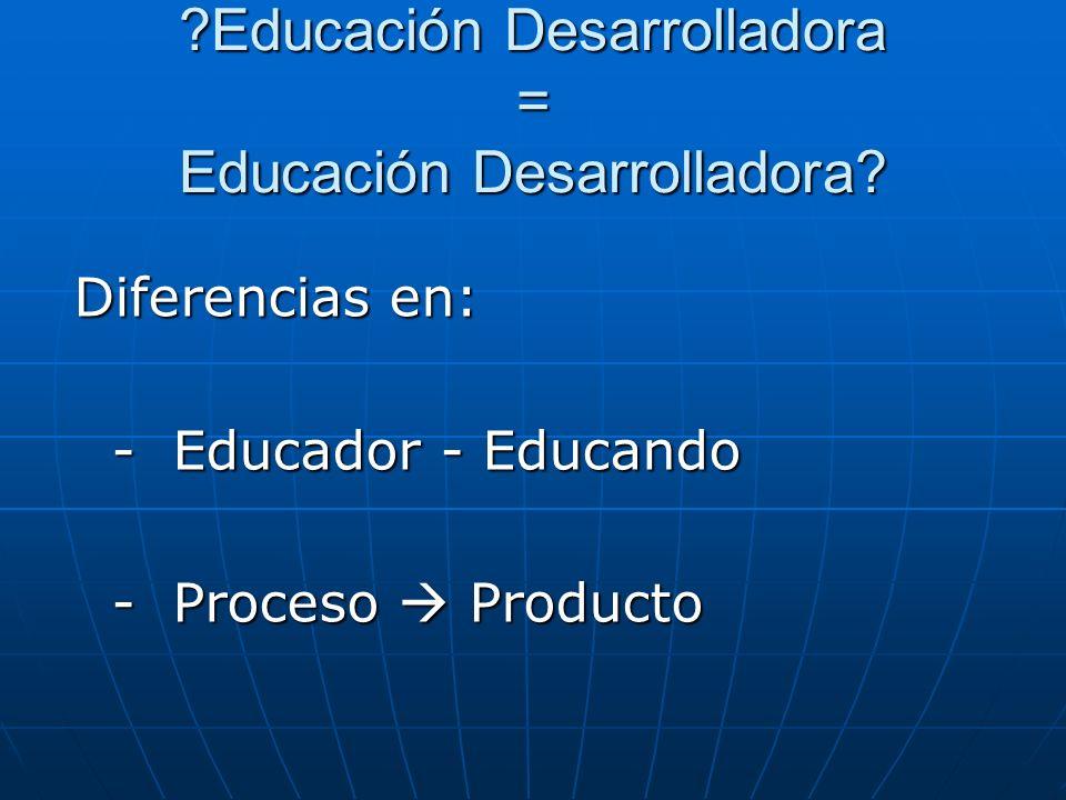Educación Desarrolladora = Educación Desarrolladora