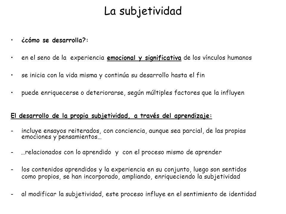 La subjetividad ¿cómo se desarrolla :