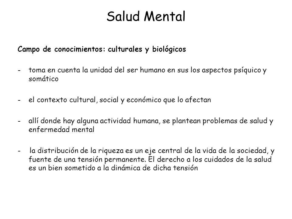 Salud Mental Campo de conocimientos: culturales y biológicos