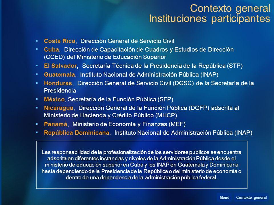 Contexto general Instituciones participantes